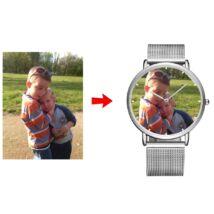 Fotó-karóra készítés egyedi képpel - választható szöveg gravírozással - óra jelzéssel - ezüst színben