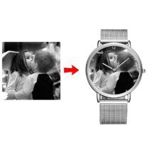 Fotó-karóra készítés egyedi képpel - választható szöveg gravírozással - számos óra jelzéssel - ezüst színben