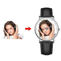 Fotó-karóra készítés egyedi képpel - választható szöveg gravírozással - óra és perc jelzéssel - fekete bőrszíjjal