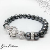 Swarovski gyöngy karkötő - Dark Grey , Crystal kristálygyönggyel - kék