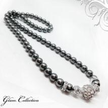 Swarovski gyöngy nyaklánc- Dark Grey - ezüst