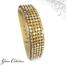 5 kősoros bőr karkötő- Golden Shadow - lila - Swarovski kristályos