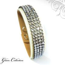 4 kősoros bőr karkötő- Moonlight - Swarovski kristályos - ezüst