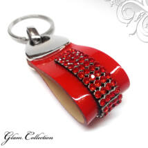 4 kősoros bőr kulcstartó - Light Siam  - Swarovski kristályos