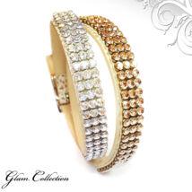2*3 kősoros bőr karkötő- Golden Shadow - Swarovski kristályos