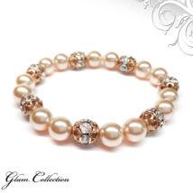 Swarovski gyöngy karkötő - Peach - Rose Gold Rondelle Ball