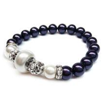 Swarovski gyöngy karkötő -Dark Purple -White - lila
