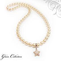 Swarovski gyöngy nyaklánc csillag alakú medállal- Creamrose - krém