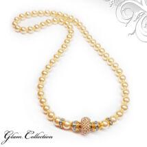Swarovski gyöngy nyaklánc- Light Gold-Golden Shadow