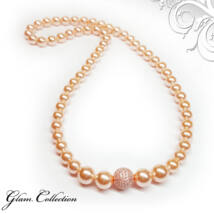 Swarovski gyöngy nyaklánc- Peach - barackszín