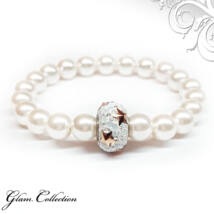 Swarovski gyöngy karkötő - White, csillagos kristálydísszel