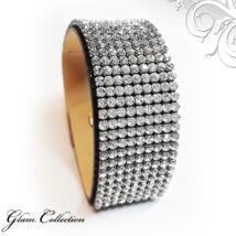 9 kősoros bőr karkötő- Crystal - Swarovski kristályos