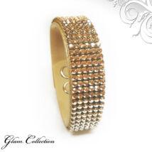 6 kősoros bőr karkötő- Golden Shadow - Swarovski kristályos - arany