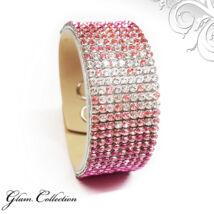 9 kősoros bőr karkötő- Fuchsia, Rose, Light Rose, Crystal  - Swarovski kristályos - rózsaszín