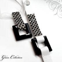 4 kősoros bőr karkötő, hozzá illő nyaklánccal -fekete-fehér- Swarovski kristályos