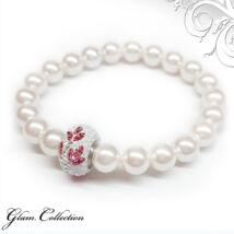 Swarovski gyöngy karkötő - White, virágos kristálydísszel