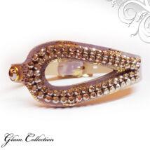 Csepp alakú bőr karkötő-- Golden Shadow  - Swarovski kristályos