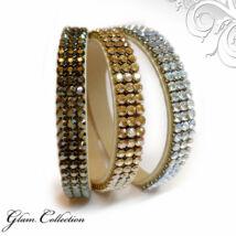 3*3 kősoros bőr karkötő-  Moonlight, Golden Shadow, Bronze - Swarovski kristályos