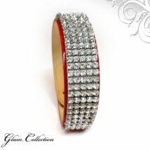 5 kősoros bőr karkötő-  Swarovski kristályos - Crystal