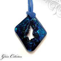 Bőr  nyakék - Bermuda Blue - Swarovski kristályos