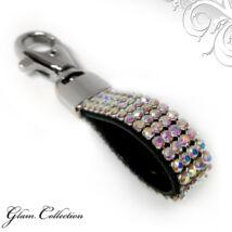 4 kősoros bőr kulcstartó -  Crystal AB (színjátszós) - Swarovski kristályos