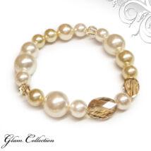 Swarovski gyöngy karkötő csiszolt kristályokkal - Light Gold