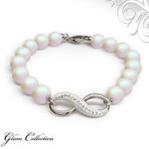 Swarovski gyöngy karkötő Infinity medállal - Pearlescent White
