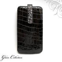 Swarovski kristályos bőr telefontok - fekete, fehér kristállyal