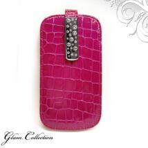 Swarovski kristályos bőr telefontok - pink, fehér kristállyal