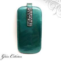 Swarovski kristályos bőr telefontok - türkiz, türkiz- fehér kristállyal
