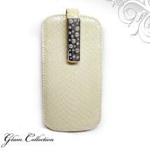 Swarovski kristályos bőr telefontok - bézs, fehér kristállyal