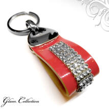 4 kősoros bőr kulcstartó - Crystal - Swarovski kristályos