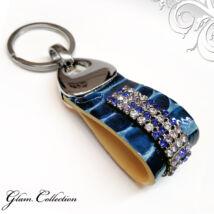 4 kősoros bőr kulcstartó - Crystal&Blue - Swarovski kristályos
