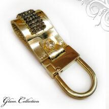 5 kősoros bőr kulcstartó - Black Diamond  - Swarovski kristályos