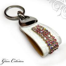 4 kősoros bőr kulcstartó - Crystal&Pink - Swarovski kristályos