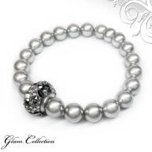 Swarovski gyöngy karkötő Swarovski kristályokkal - Light Grey - ezüst