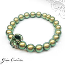 Swarovski gyöngy karkötő Swarovski kristályokkal - Iridescent Green