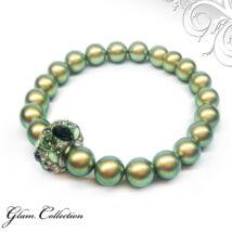 Swarovski gyöngy karkötő Swarovski kristályokkal - Iridescent Green - zöld