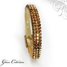 3 kősoros bőr karkötő- Rose Gold - Swarovski kristályos