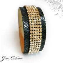 5 kősoros bőr karkötő-  Swarovski kristályos - Fekete - Golden Shadow - arany