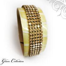 5 kősoros bőr karkötő-  Swarovski kristályos - Golden Shadow - arany