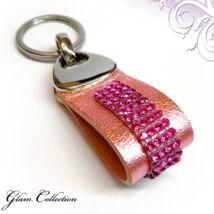 4 kősoros bőr kulcstartó - Rose - Swarovski kristályos