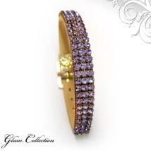 3 kősoros bőr karkötő- Provence Lavender - Swarovski kristályos