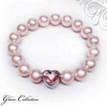 Swarovski gyöngy karkötő - Rosaline, szív alakú dísszel - rózsaszín