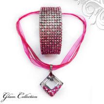9 kősoros átmenetes bőr karkötő, hozzá illő különleges nyaklánccal - Rose - Swarovski kristályos - ezüst