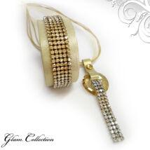 5 kősoros bőr karkötő, hozzá illő különleges nyaklánccal - Golden Shadow - Swarovski kristályos - arany