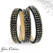 3*3 kősoros bőr karkötő- Silver Night - Swarovski kristályos - fekete