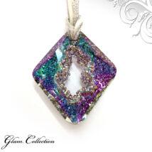 Bőr  nyakék -Vitrail Light - Swarovski kristályos - Medál - színjátszós lila