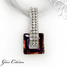 3 kősoros organza szalagos nyakék- kocka formájú- Swarovski kristályos - Medál - színjátszós lila