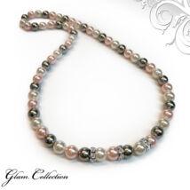 Swarovski gyöngy nyaklánc - White, Rosaline, Light Grey
